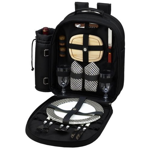 Picnic at Ascot - Deluxe Equipped 2 Person Picnic Backpack with Cooler & Insulated Wine Holder - Black [Black w/Gingham]