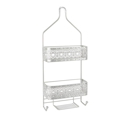 Filigree Bathroom Collection 2-Shelf Shower Caddy with Soap Holder - Nickel