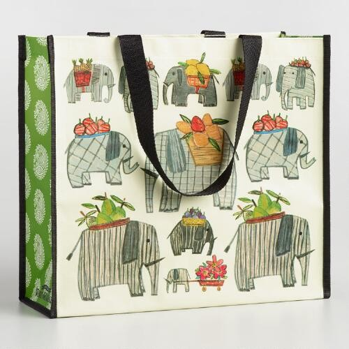Elephant and Paisley Wide Tote