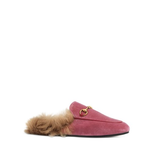 GUCCI Women'S Princetown Velvet And Lamb Fur Mules