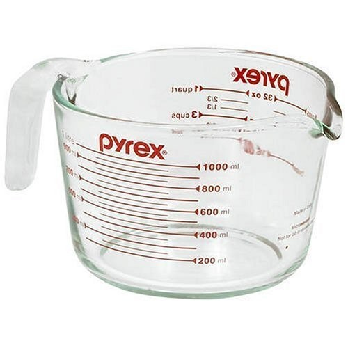 Pyrex Prepware 1-Quart Measuring Cup, Clear with Red Measurements [Standard Packaging, 4 Cup]