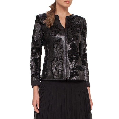 AKRIS Harmony Sequined Zip-Front Jacket, Black