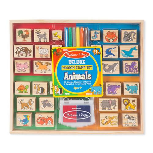 Melissa & Doug Deluxe Animals Wooden Stamp Set