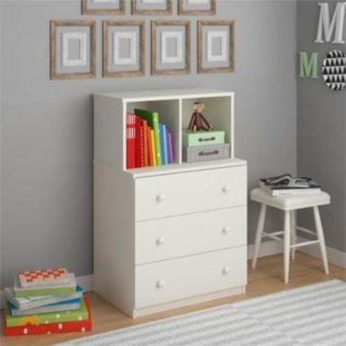 Ameriwood Home Skyler 3 Drawer Dresser with Cubbies in White