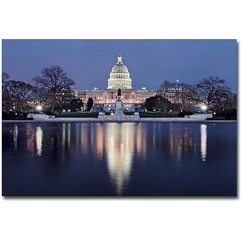 Capitol Reflections by Gregory O'Hanlon, 16x24-Inch Canvas Wall Art [16 by 24-Inch]