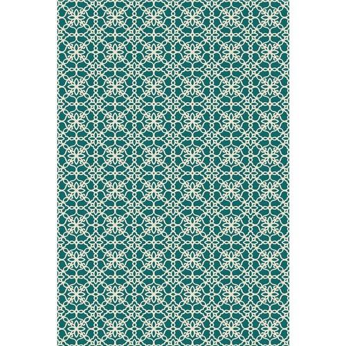Ruggable Washable Floral Tiles Teal 4 ft. x 6 ft. Stain Resistant Area Rug