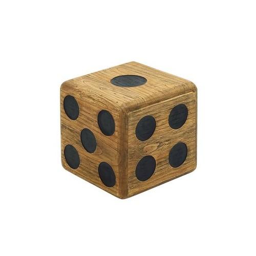 Teak Wood 16-inch Cube Dice Stool