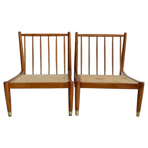 Swedish Slipper Chairs, Pair