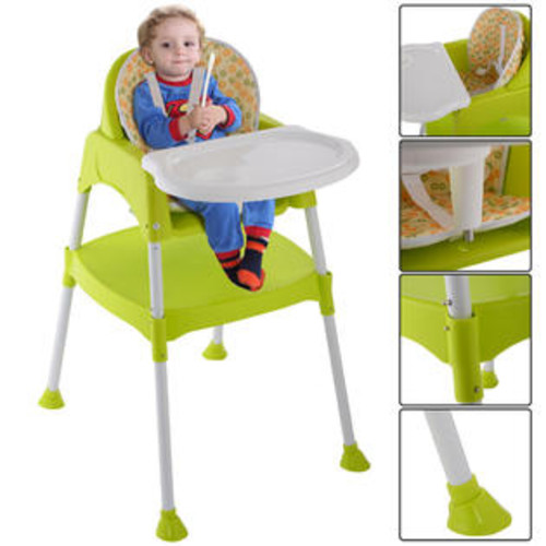 Goplus 3 in 1 Baby High Chair Convertible Table Seat Booster Toddler Feeding Highchair