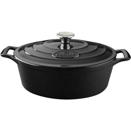 La Cuisine 6.75 Qt. Cast Iron Oval Casserole with Black Enamel