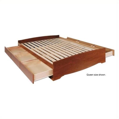 Prepac Monterey Cherry Double Platform Storage Bed