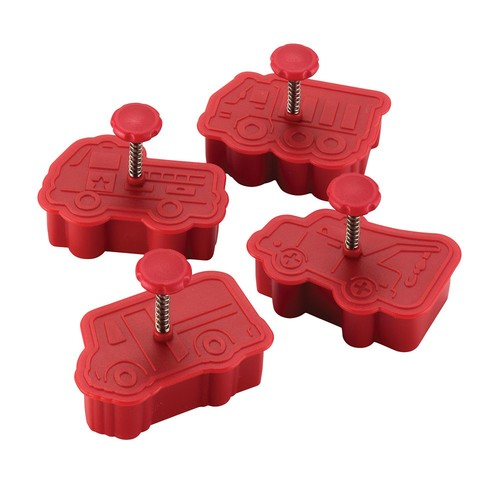 Cake Boss Decorating Tools 4-Piece Work Truck Fondant Press Set, Red