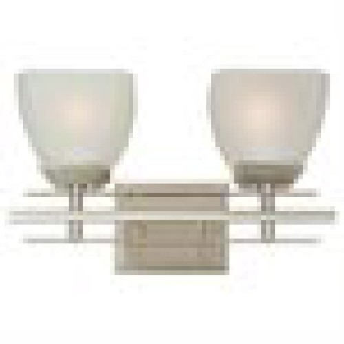 Yosemite Home Decor 95592SN Half Dome Bathroom Vanity with White Frosted Shade, 2-Light, Satin Nickel [Satin Nickel, 2-Light]
