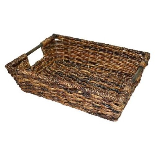 Wicker Large Decorative Tray - Dark Global Brown - Threshold