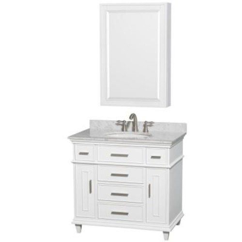 Wyndham Collection Berkeley 36 in. Vanity in White with Marble Vanity Top in White Carrara, Round Sink and Medicine Cabinet