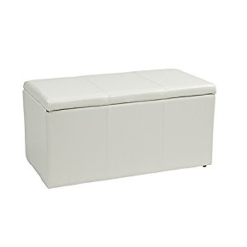 Office Star Metro 3-Piece Bench and Ottoman Cube Set in Vinyl, White [White]