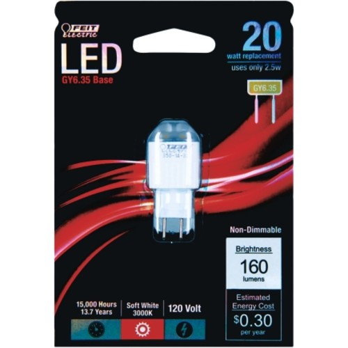 FEIT Electric LED Bulb 2.5 watts 160 lumens Specialty GY6.4 2 in. Soft White 1 pk(GY6.35/LED)