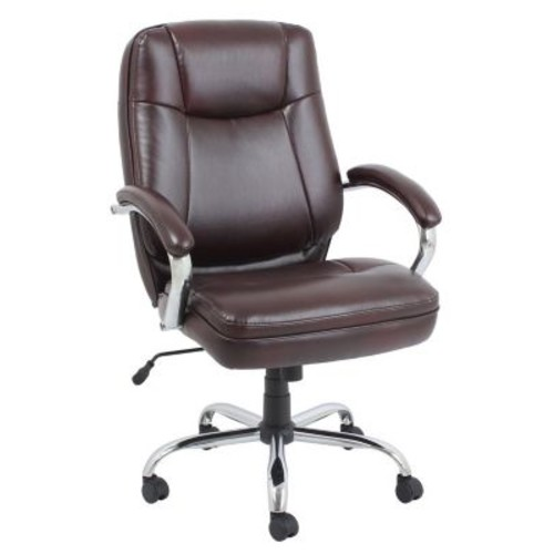 Barcalounger Bonded Leather and PVC Big & Tall Executive Chair Brown Chromed Armrests with Leather Pad (9280H-1-MA)