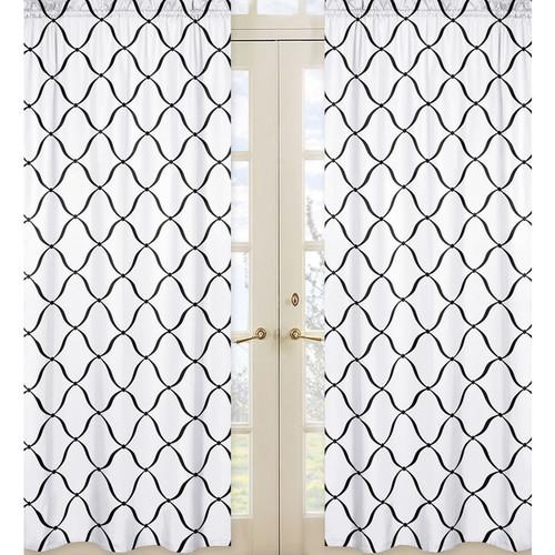 Sweet Jojo Designs Black/White Princess Window Curtain Panel Set