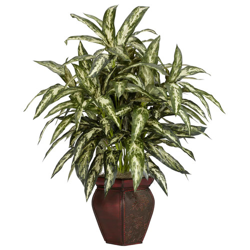 Nearly Natural 30 in. H Green Aglonema with Decortaive Vase Silk Plant