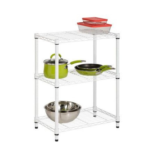 Honey-Can-Do 3-Tier White Steel Urban Adjustable Shelving Unit