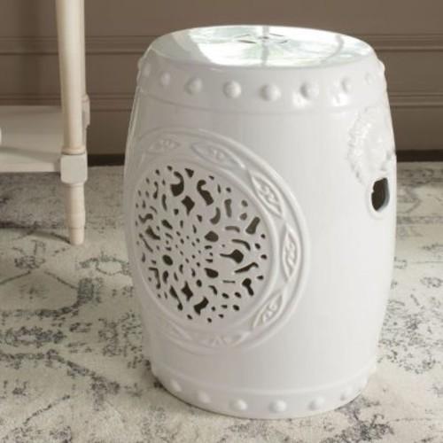 Safavieh Flower White Drum Garden Stool