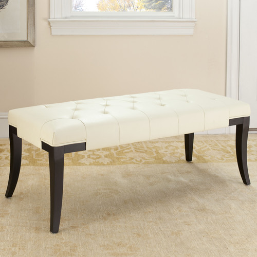 Safavieh Tyler Leather Bench Color: Off-white