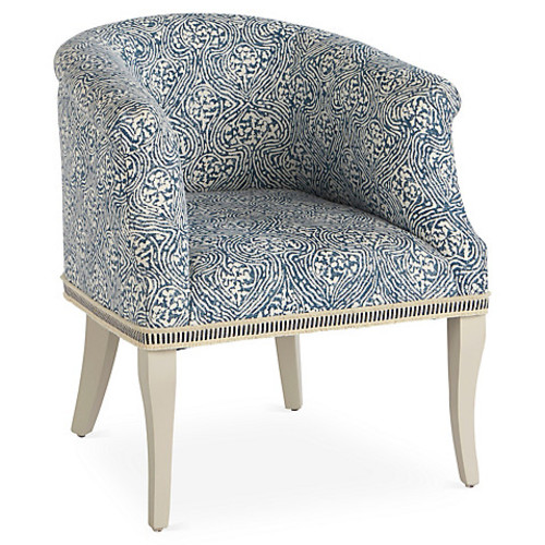 Selby Chair, Blue/White