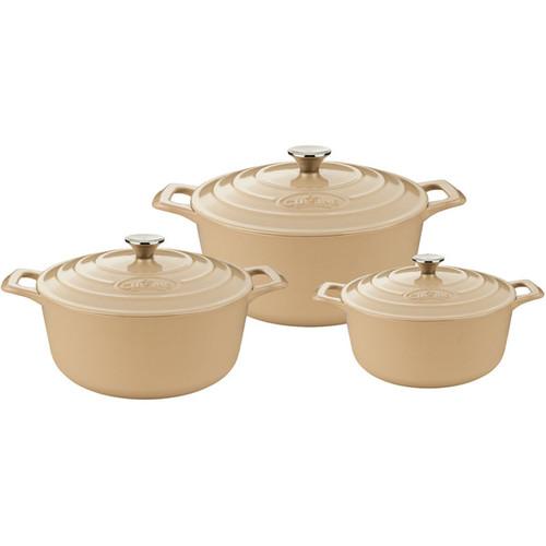 La Cuisine Cream Enamel Finish Cast Iron 6-piece Round Casserole Set