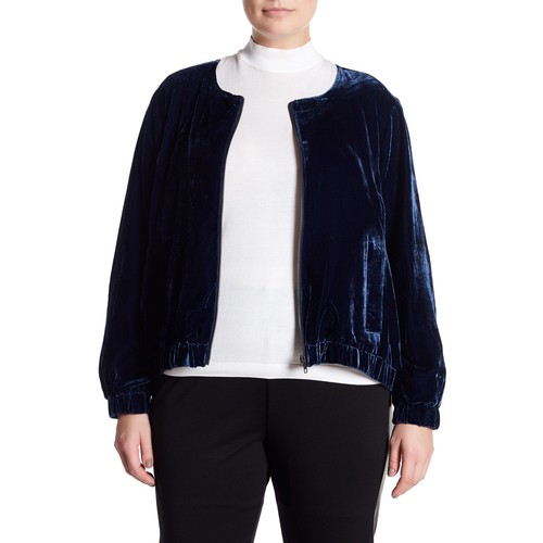 Velvet Bomber Jacket (Plus Size)