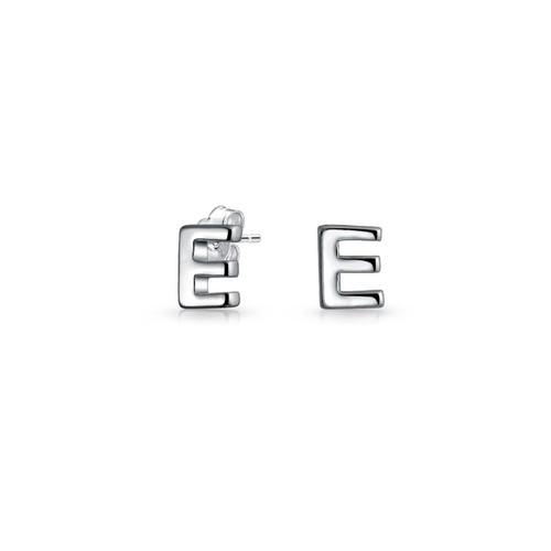 Bling Jewelry Modern Alphabet Letter E Initial Stud earrings 925 Sterling Silver 55mm