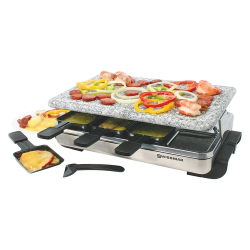 Swissmar KF-77081 Stelvio 8-Person Raclette with Granite Stone Grill Top, Brushed Stainless Steel [Granite Stone Grill Top]