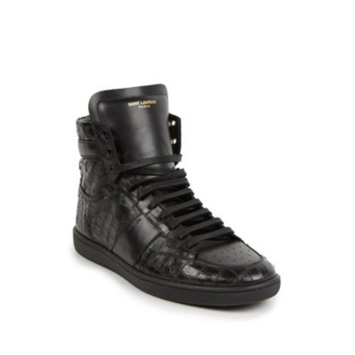 SAINT LAURENT Croc Embossed Leather High-Top Sneakers