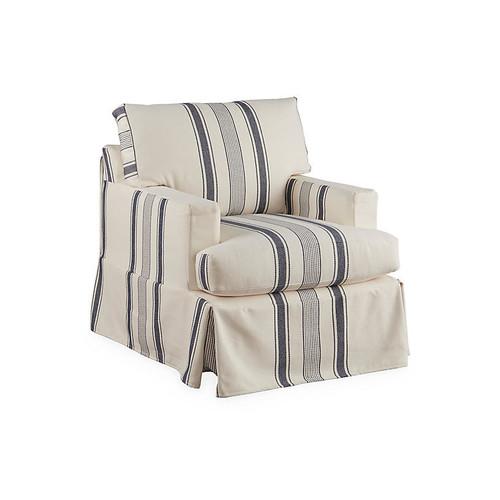 Liza Slipcover Swivel Chair, Blue