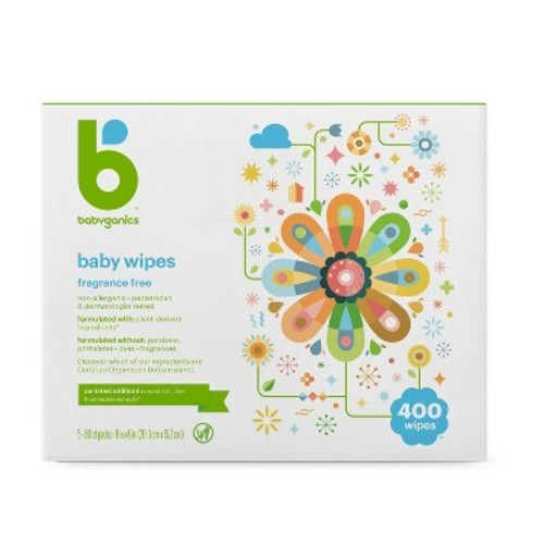 Babyganics Fragrance Free Face and Hand Baby Wipes - 400 Count