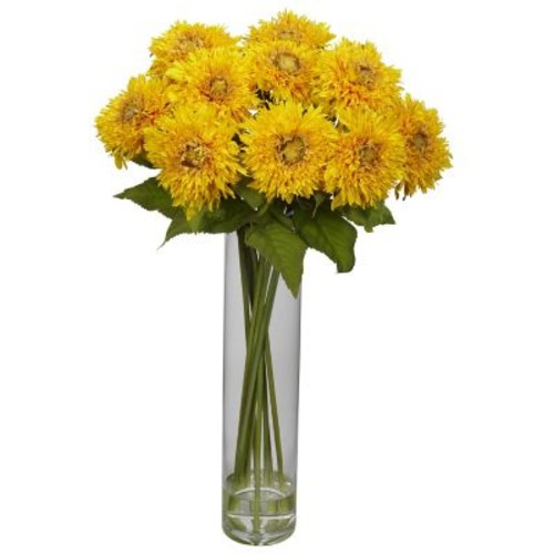 Nearly Natural 1246-YL Sunflower with Cylinder Floral Arrangements, Yellow