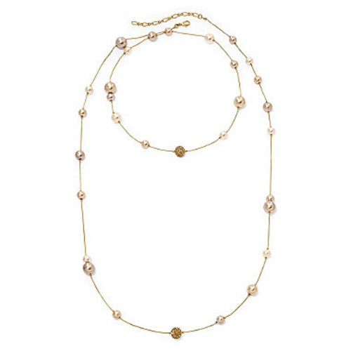 Vieste Simulated Pearl and Crystal Long Illusion Necklace