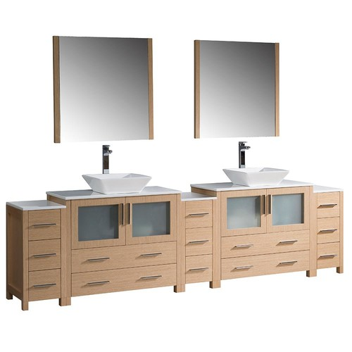 Fresca Torino 108 in. Double Vanity in Light Oak with Glass Stone Vanity Top in White with White Basins and Mirrors