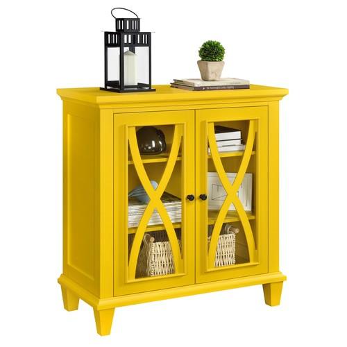 Dorel Ellington Yellow Double Door Accent Cabinet