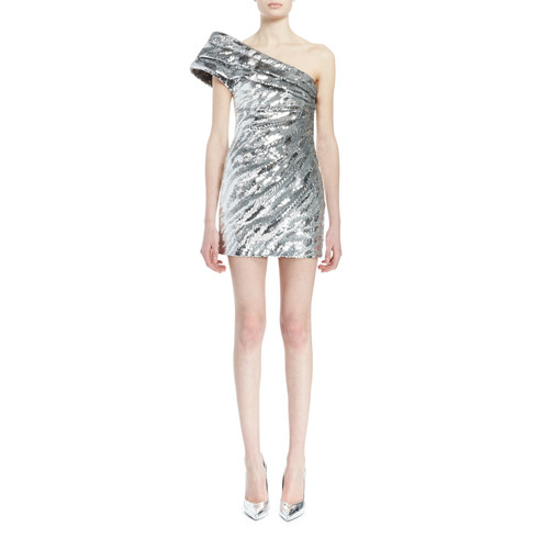 SAINT LAURENT One-Shoulder Pleated Metallic Mini Dress, Silver