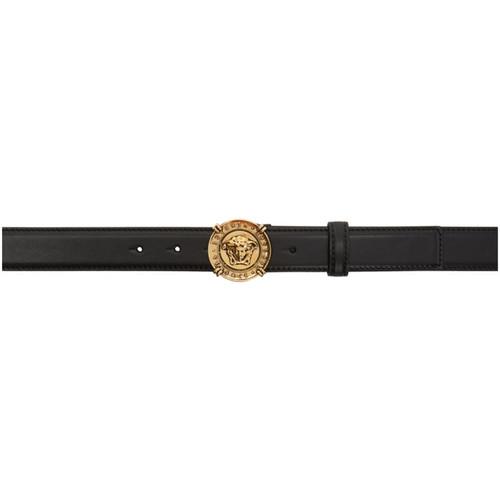 VERSACE Black & Gold Medusa Medallion Belt