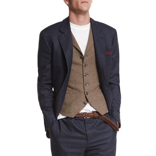 BRUNELLO CUCINELLI Check Two-Button Wool Blazer, Blue