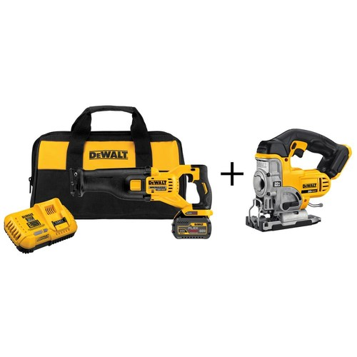 DEWALT FLEXVOLT 60-Volt MAX Lithium-Ion Cordless Brushless Reciprocating Saw with (1) Battery 2Ah, Charger and Bonus Jig Saw
