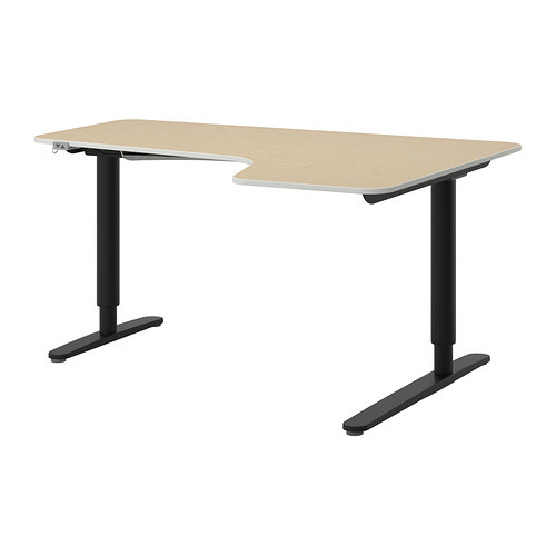 BEKANT Corner desk right sit/stand, birch veneer, black