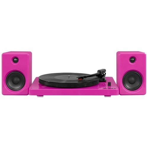 Victrola - 50's, 80's & today Bluetooth Stereo Audio System - Glossy piano pink