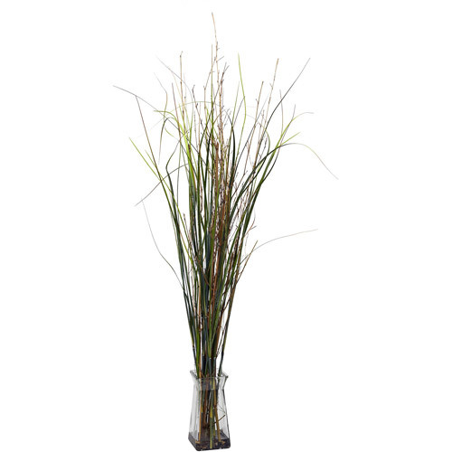 46 in. H Green Grass and Bamboo with Glass Vase Silk Plant