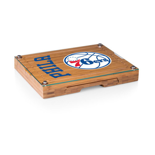Picnic Time Concerto Bamboo Philadelphia 76ers Cutting Board/Tray and Cheese Tools Set