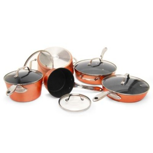STARFRIT The ROCK Nonstick 10-Piece Cookware Set in Copper
