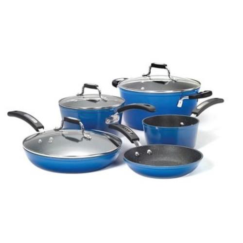 The Rock By Starfrit 034613-001-0000 The Rock By Starfrit 8-piece Cookware Set With Bakelite Handles (blue)