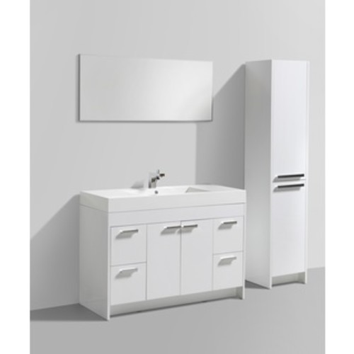 Wyndham Collection Amare Dove Grey Acrylic Resin Top Integrated Sink 48-inch Single Vanity with 46-inch Mirror